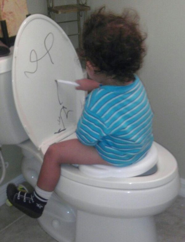 Convince antsy kids to stay put by letting them draw on the lid with a dry erase marker.