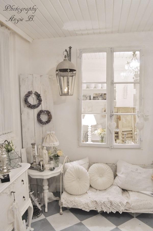 Shabby Chic Vintage White Living Room