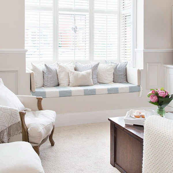 Shabby Chic Living Room with Cozy Window Seat