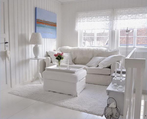 All White Living Room.
