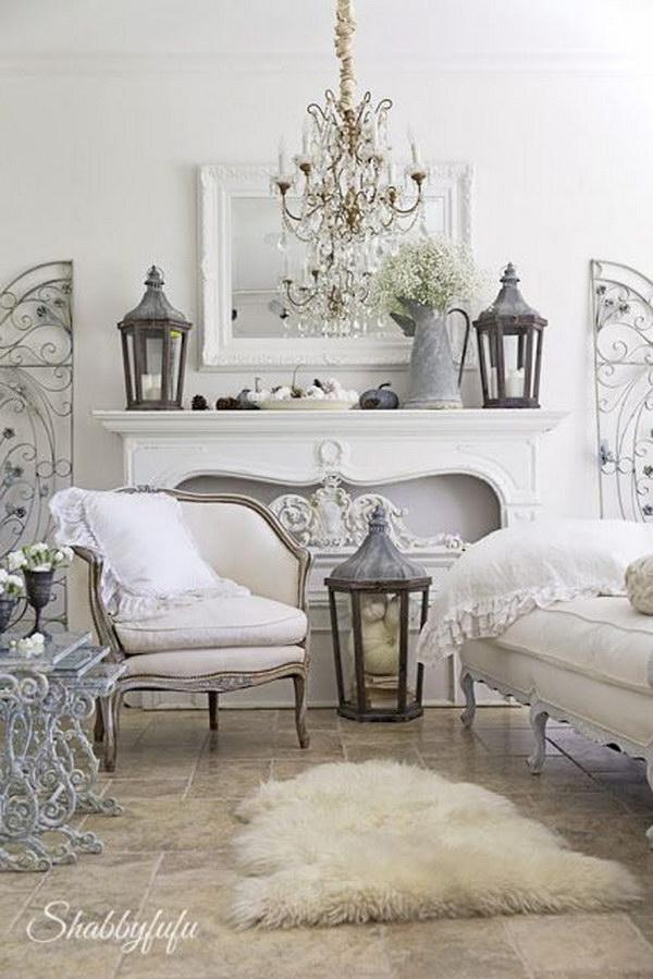 Vintage White Living Room Decorating Idea