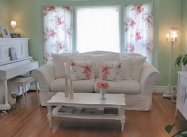 Light Green Shabby Chic Living Room Decor with White Furniture and Floral Pattern Curtains