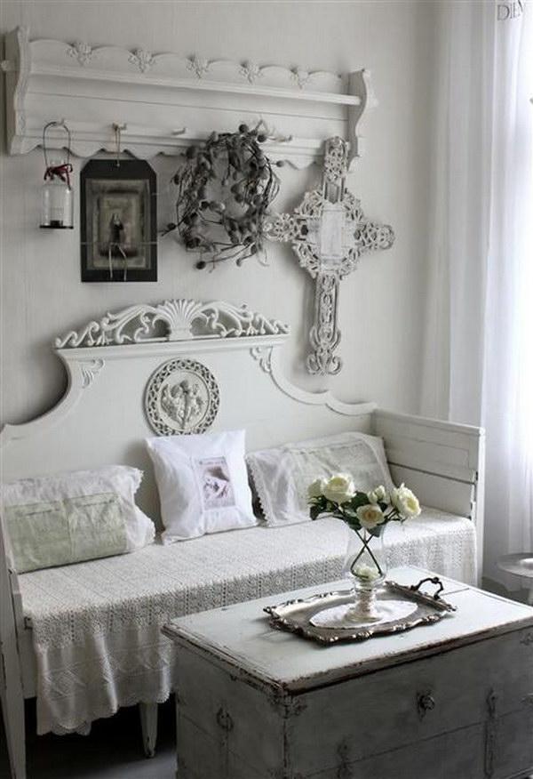 White in White Shabby Chic Living Room
