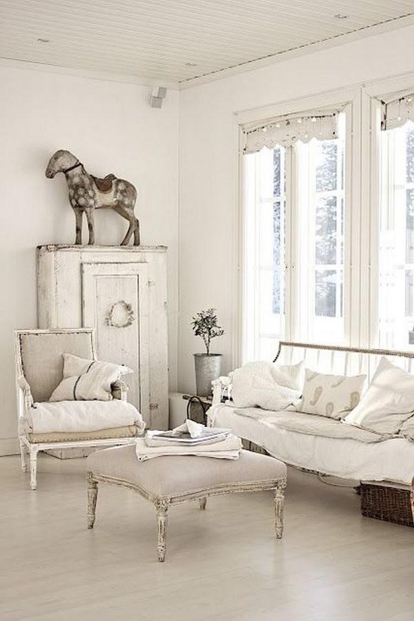 All White Room Shabby Chic Living Room