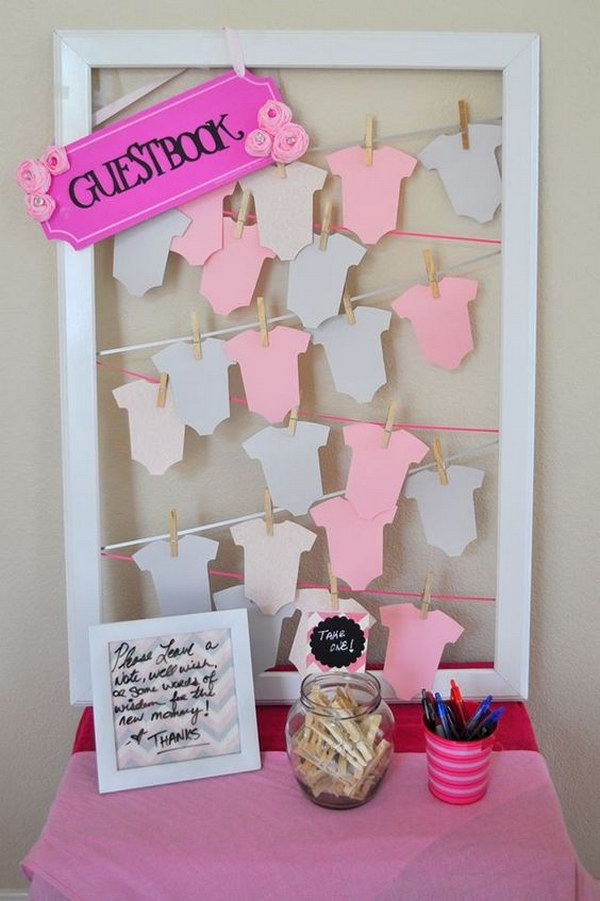 DIY Onesies Note Cards in a Frame.