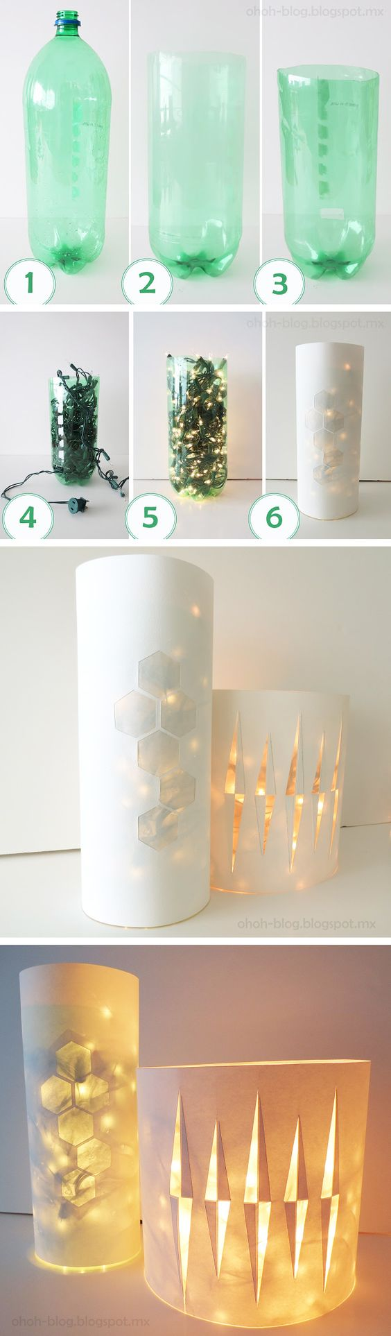 DIY Lamp from Christmas lights, Plastic Bottle and Paper.