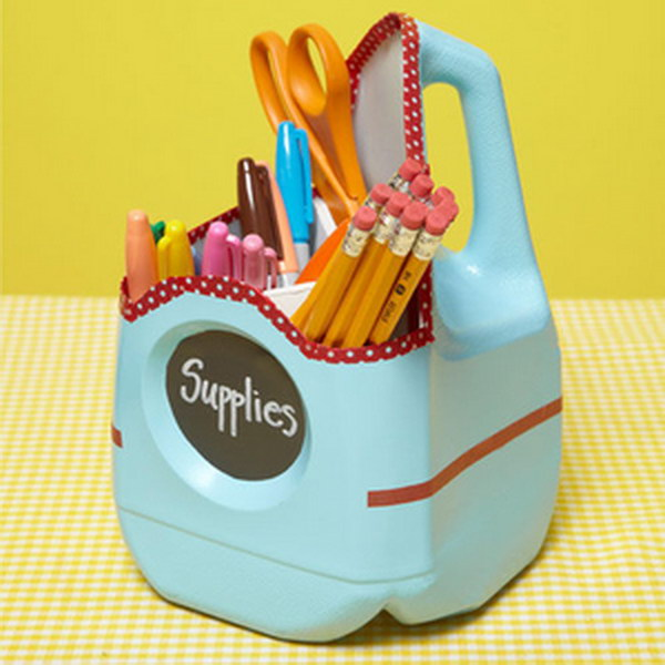 Milk Jug School Supply Container.