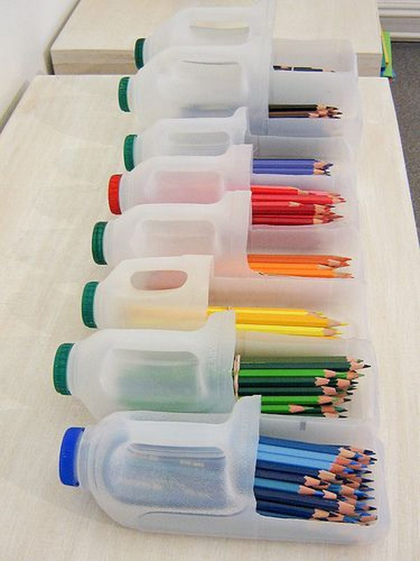 Milk Jugs Cut up to Make Use for Organizing.