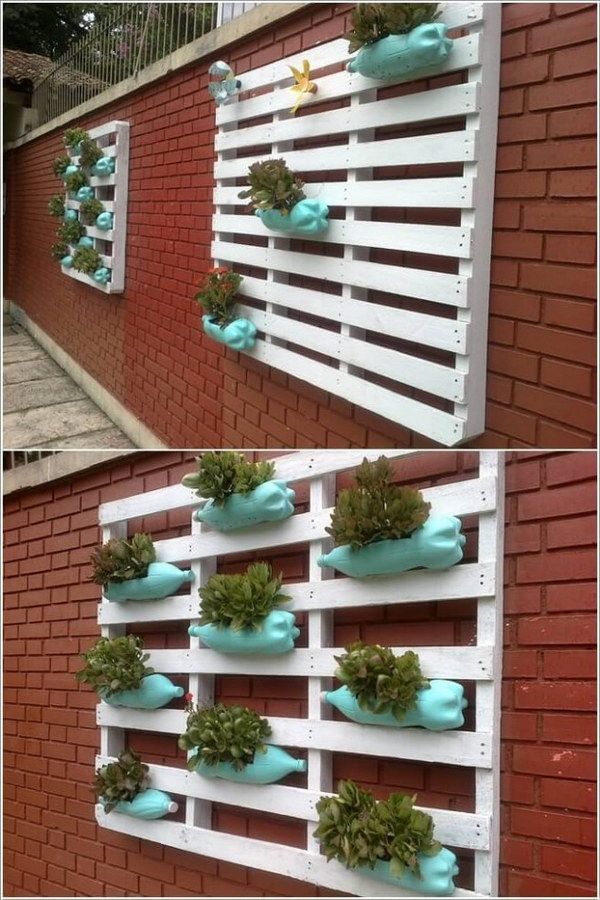 Plastic Bottle Made Vertical Garden.